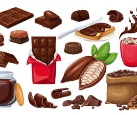 Chocolate elements icons for design vector