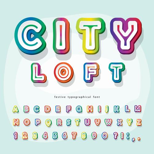 City loft festive typographica font vector