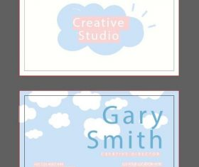 Clouds background business card design vector