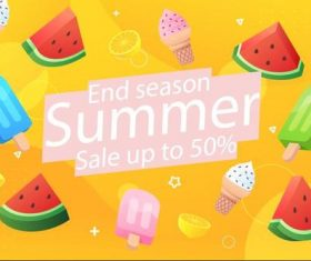 Cold drinks summer half price sale flyer vector