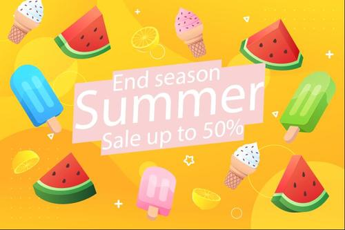 Cold drinks summer half price sale flyer vector