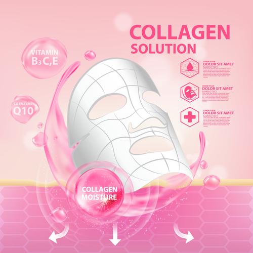 Collagen protein cosmetics vector