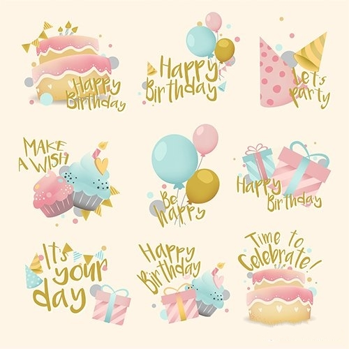 Collection of colorful birthday badge vector
