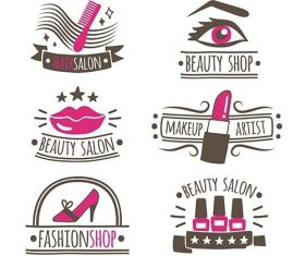 Collection of hand drawn logos beauty salon vector