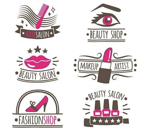 Collection of hand drawn logos beauty salon vector