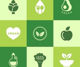 Collection of vegan icon vector