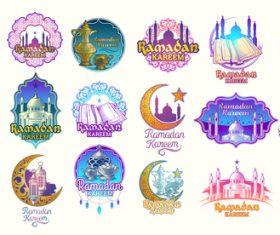 Color illustrations badges Ramadan Kareem vector