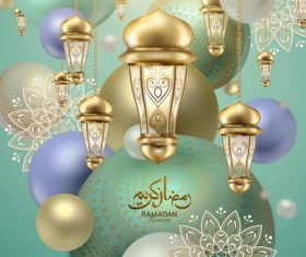 Colorful Eid mubarak lantern background card vector