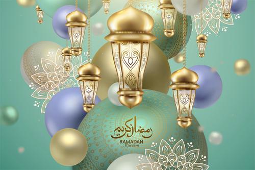 Colorful Eid mubarak lantern background card vector