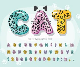 Colorful animal skin pattern festive typographica font vector