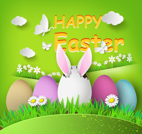 Colorful easter vector illustration cut from paper