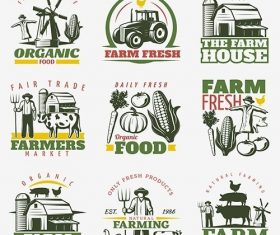 Colorful farm emblems set vector