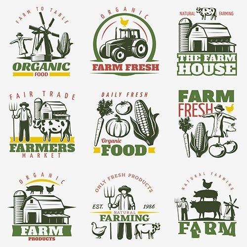 Colorful farm emblems set vector