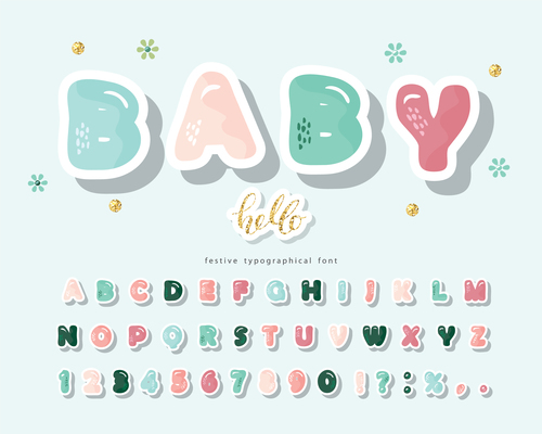 Colorful festive typographica font vector