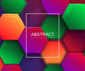 Colorful hexagon abstract background vector