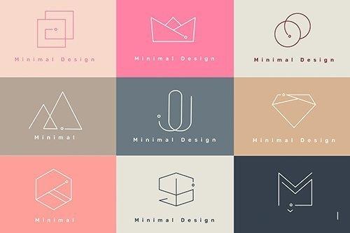 Colorful minimal design logo collection vectors