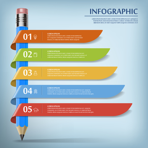 Concept pencil infographic vector