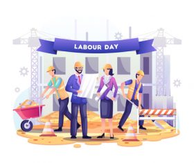 Construction workers are build buildings on labor day vector