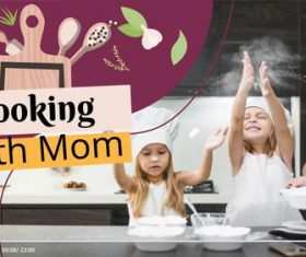 Cooking with mom youtube template vector