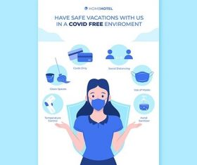 Coronavirus prevention poster template hotels vector