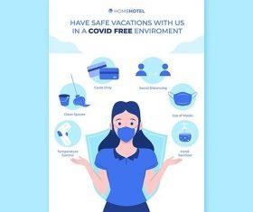 Coronavirus prevention poster template hotels vector