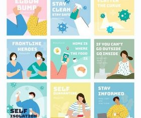 Coronavirus prevention social post set vector