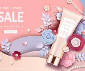 Cosmetics sale card vector