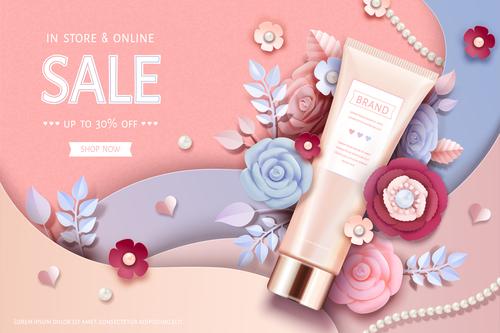 Cosmetics sale card vector
