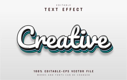 Creative font text effect editable vector