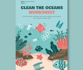 Creative ocean environment worksheet flyer vector