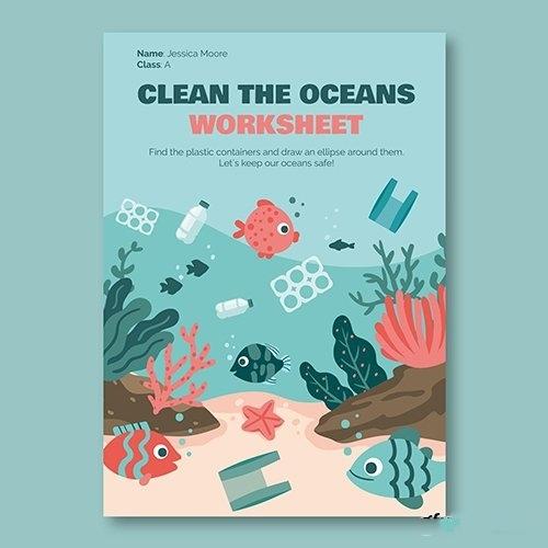 Creative ocean environment worksheet flyer vector