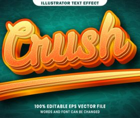 Crush 3d editable text style effect vector