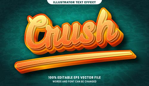 Crush 3d editable text style effect vector