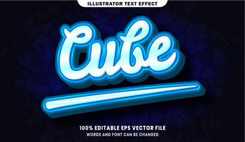 Cube 3d editable text style effect vector