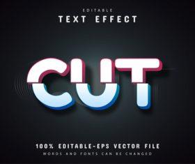 Cut text effect editable vector