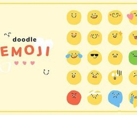 Cute doodle emoticon vector pack journal sticker