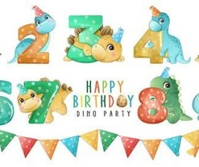 Cute little dinosaur with numbering birthday party collection vector