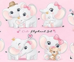 Cute little elephant watercolor illustrations vector