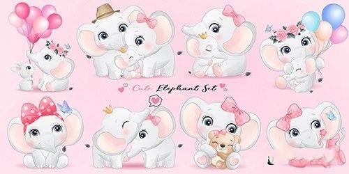 Cute little elephant watercolor illustrations vector