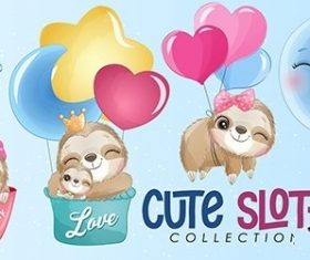 Cute little sloth watercolor illustrations vector