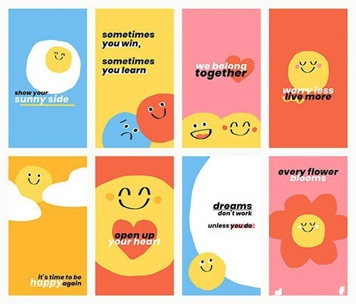 Cute positive quotes templates vector doodle smiley emoticons banner set
