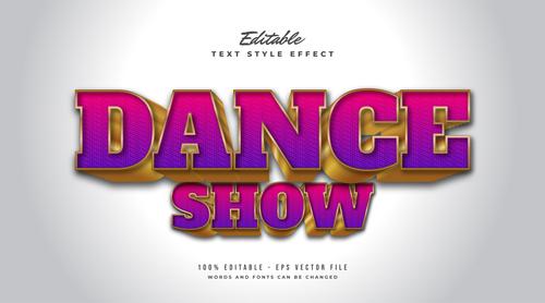 Dance show editable font vector