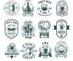 Dark white Beer vector labels