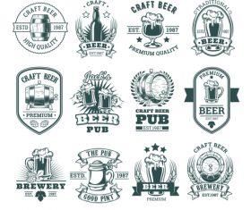 Dark white Beer vector labels