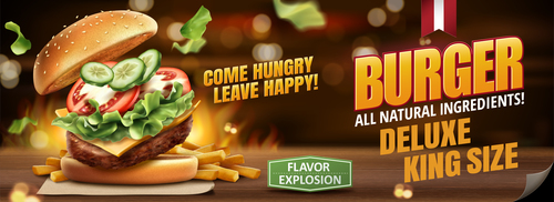 Delicious burger food advertisement vector