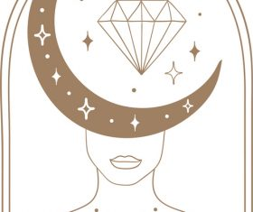 Diamond blog tarot spiritual elements vector