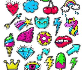 Doodle decal sticker vector