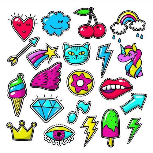 Doodle decal sticker vector