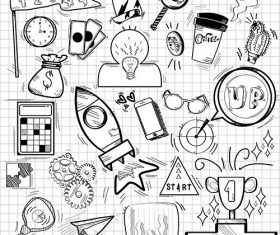 Doodles of aspiration and achievement symbols vector