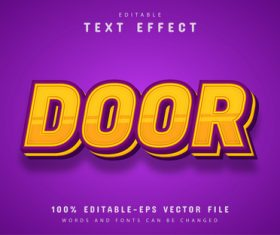 Door font text effect editable vector
